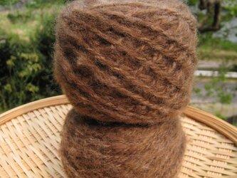 手紡ぎ毛糸 コリデール 茶 100gの画像