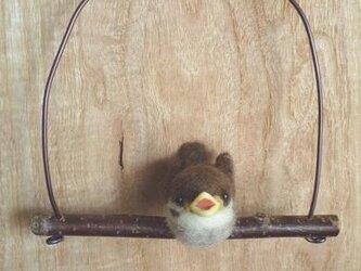 【H.S様オーダー作品】羊毛フェルト スズメのヒナうたうの画像