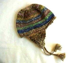 SALE 手紡ぎ糸のニット帽 H-028の画像