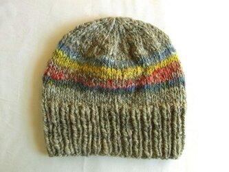 SALE 手紡ぎ糸のニット帽 N-265の画像