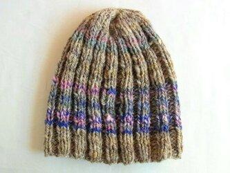 SALE 手紡ぎ糸のニット帽 H-051の画像