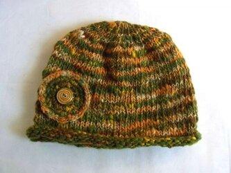 SALE 手紡ぎ糸のニット帽 N-105の画像