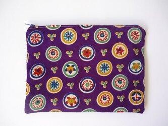 【受注制作】紫小紋の花柄ポーチの画像
