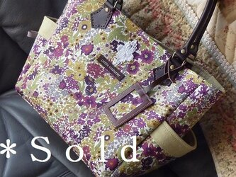 サイドポケットバッグS(リバティ:パープル系小花)の画像