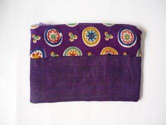 紫色の麻と絹の化粧ポーチの画像