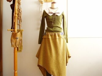 sold 渋黄アンゴラ混ツイードのヘムラインスカート裏地付の画像