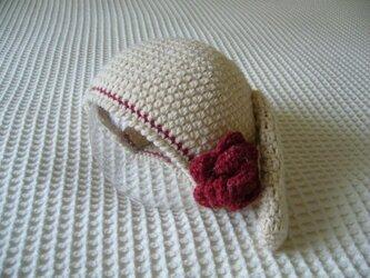 アニマル・ニット帽(花うさぎ)の画像