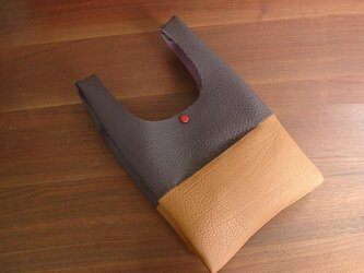 シュリンクレザーのお散歩バッグ..紫×キャメルの画像