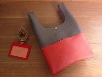 シュリンクレザーのお散歩バッグ...紫×赤の画像