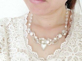 ホワイトハートネックレス☆.。.:*・の画像