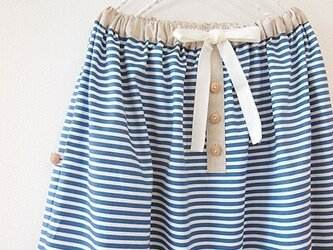 soldout☆ブルーのボーダー×リネンのギャザースカートの画像