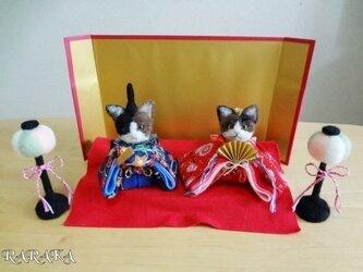 三毛猫のお雛様の画像