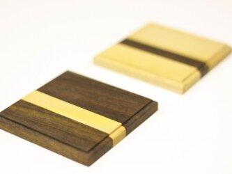 チーク×メイプルの寄木コースターの画像