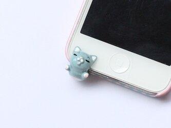 えびぞり猫のイヤホンジャック【ブルー】の画像