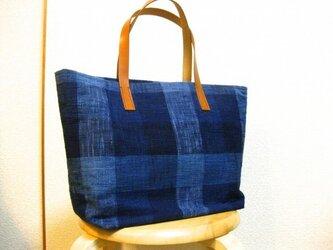 藍染めコットン トートバッグの画像