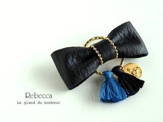レザーリボンバレッタ gold*winter blueの画像