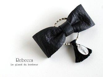 レザーリボンバレッタ silver*blackの画像