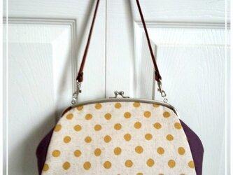 [受注製作]長財布が入る がまぐちバッグ 黄色水玉&紫 No.35の画像