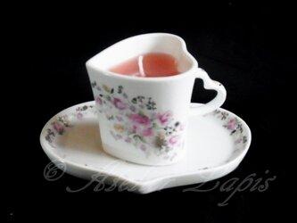 カップ&ソーサー アロマキャンドル 小バラの画像