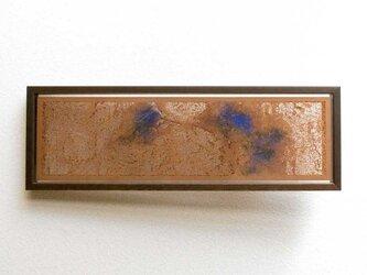 切り絵 樹皮に蔦 二枚重ね額縁 透明背景 日本画顔料 茶の渋紙の画像