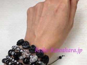 キラキラハートのブラックブレスの画像
