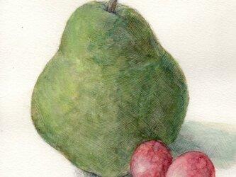 洋梨と葡萄の画像