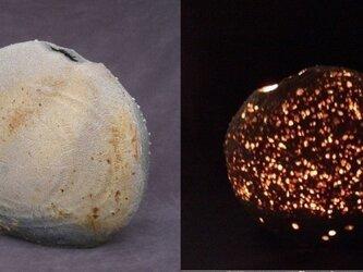 灯り[耀光の宙]「緋炎焼き締め扁壷」の画像