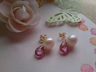 淡水真珠とピンクトパーズのしずくピアス【14kgf】の画像
