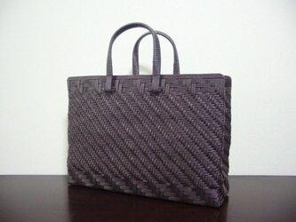 【再販】あじろ編みのハンドバッグ/チョコの画像
