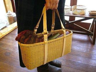 竹かごバッグ 「bamluxe(M)」の画像