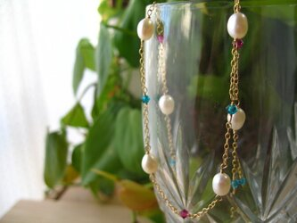 Freshwaterpearl necklace ethnicの画像