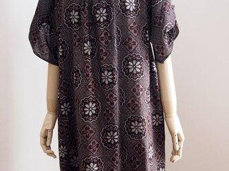 綿の着物でラグランワンピースの画像