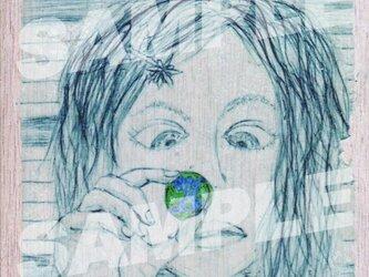 木のポストカード『地球玉』の画像