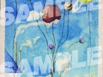 木のポストカード『惑星風船』の画像