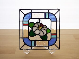 ステンドグラス ミニパネル 白椿 15cmの画像