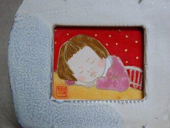 陶額入日本画 少女の画像