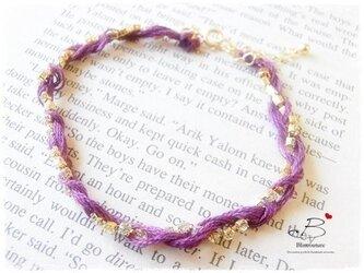 B064 刺繍糸とダイヤレーンのブレスレット-パープル-の画像
