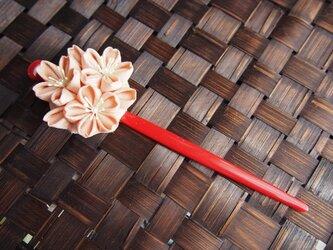 つまみ細工☆春爛漫桜ブーケの1本挿しかんざしの画像
