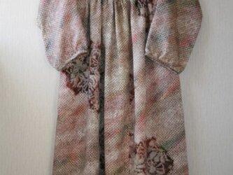 セール!!絹 絞り染め こげ茶系  ワンピースロング丈 Sサイズの画像