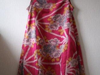 絹 ピンク 牡丹 ノースリーブワンピース Mサイズの画像