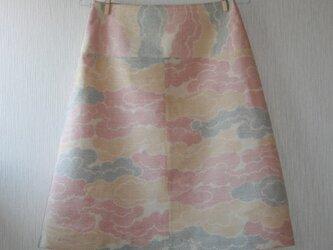 セール!絹 紬 クリーム色 雲取り 台形スカート Mサイズの画像