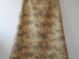 ウール着物 里山模様  台形スカート  Mサイズの画像