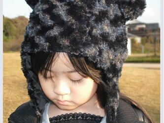 耳あて付き!ふわふわ帽子の型紙の画像