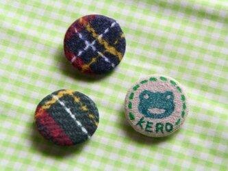 けろちゃん&チェック柄缶バッチ(3個セット)の画像