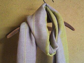 手織り 大判コットンストール3 紫・黄緑ストライプの画像
