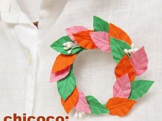 木の葉の輪 ピンク×グリーン×オレンジの画像