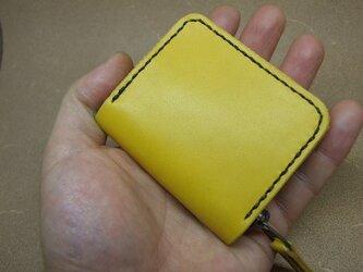 ファスナーコインケース 黄色に焦げちゃステッチの画像