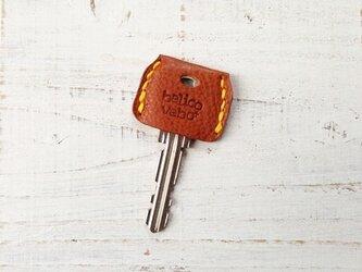 無機質な鍵をガーリーに★革のキーカバー(キャメル)の画像