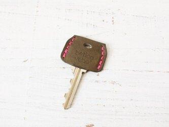 無機質な鍵をガーリーに★革のキーカバー(グレー)の画像