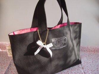 ティーカップスタンプのミニ帆布バッグ(black)の画像